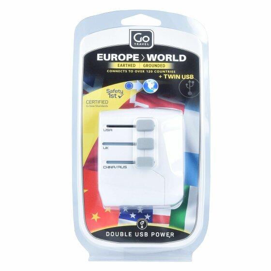 Go Travel Europe-World Reiseadapter weltweit USB 6 cm